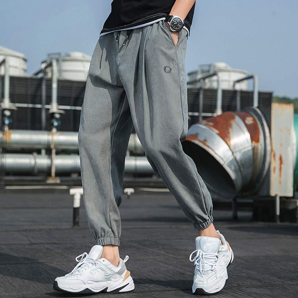 IHGTZS Pants for Men Mens Casual Fashion Loose Pure Color Hip Hop Style Ankle-Length Pant