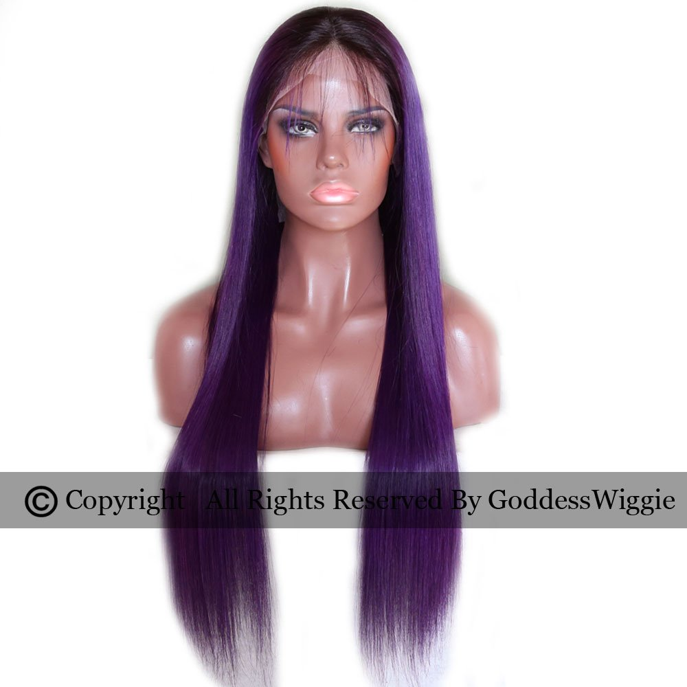 Silky Straighr Human Hair Lace Front Wigs Ombre Long Purple Hair Lace Wigs Two Tone Ombre Human Wig (20inch 150density)