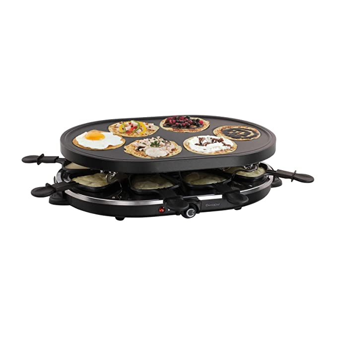 2 in1 Raclette parrilla mesa grill eléctrico Barbacoa 8 ...