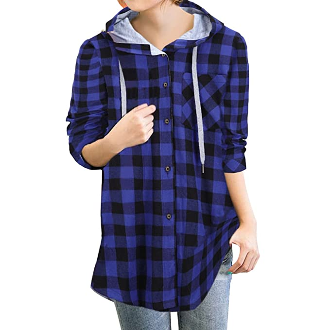 21fa69cd8e96 E.JAN1ST Women s Hoodie Jacket Flannel Plaid Loose Fit Oversized ...