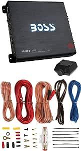 BOSS R6002 1200W 2-Channel Car Audio Amplifier+Remote+8 Gauge Amp Kit Install