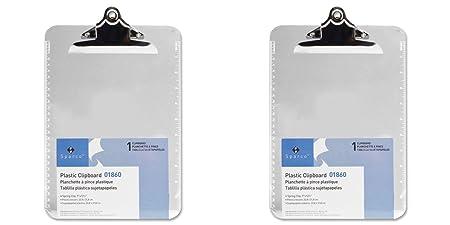 Amazon.com : Sparco Transparent Plastic Clipboard, 9 x 12-1/2 ...