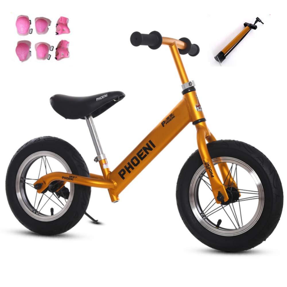 JYY Bici per Bambini Balance con Equipaggiamento Protettivo No Pedal Walking Balance Training Bicicletta da 2 A 5 Anni,giallo-Rubberwheel