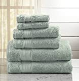 Great Bay Home 6-Piece Luxury Hotel/Spa 100% Turkish Cotton Towel Set, 600 GSM. Includes Bath Towels, Hand Towels and Washcloths. Grace Collection By Brand. (Light Blue)