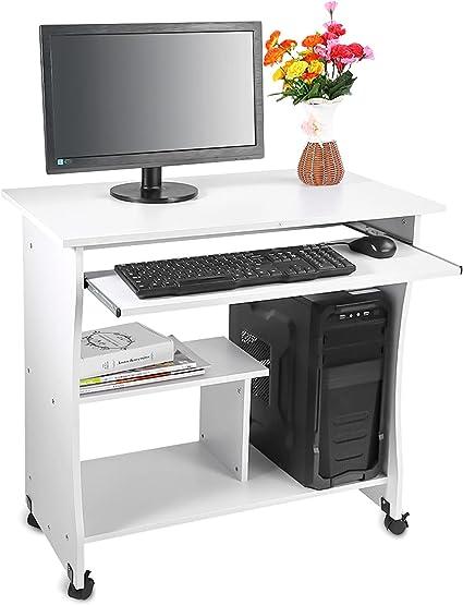 Yosoo Mesa para Ordenador de Madera Compacta con Ruedas Escritorio de PC con Portateclado para Oficina o Hogar (Blanco)