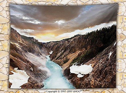 Canyon Dual Sport Seat (Yellowstone Decor Fleece Throw Blanket Canyon in Yellowstone Dramatic Sky Dark Clouds and Setting Sun Landscape Scenic Photo Throw)