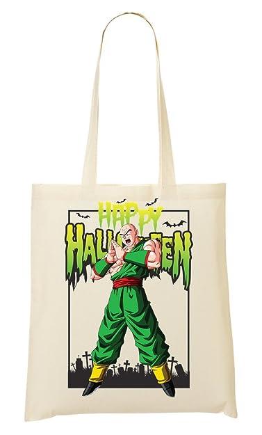 tien shinhan happy halloween dragon ball dbz anime shopping tote bag
