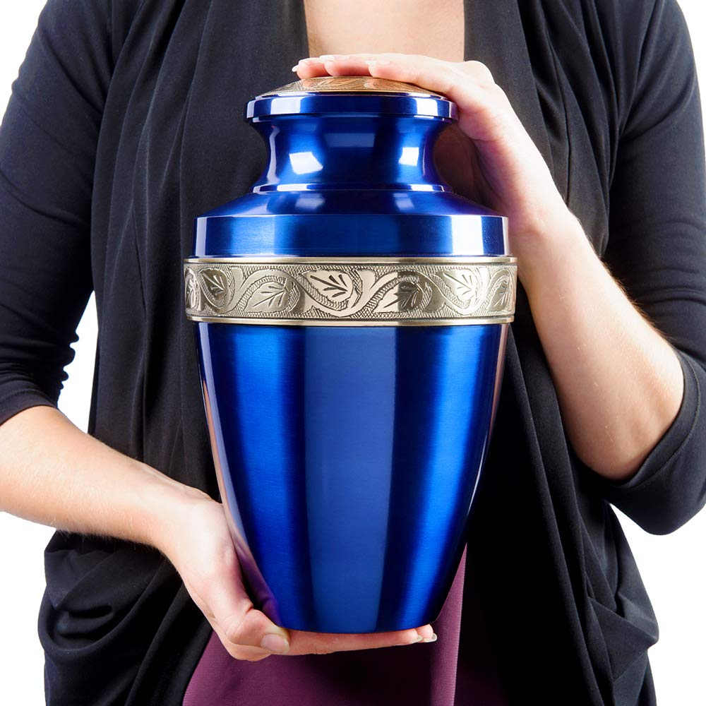 Serenity Large Red Beautiful Adult Cremation Urn for Human Ashes w Velvet Bag