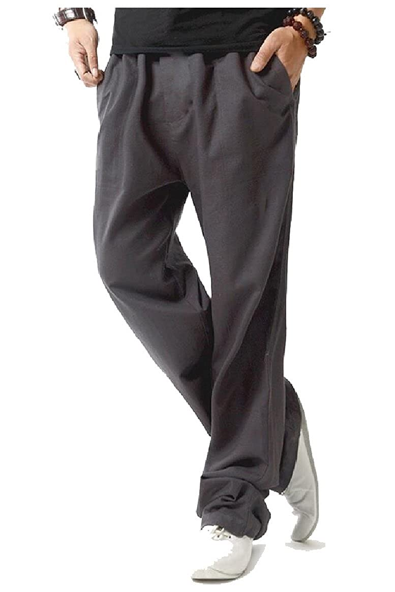 Gocgt Mens Fitted Elastic Waistband Cotton Linen Drawstring Pants Trousers