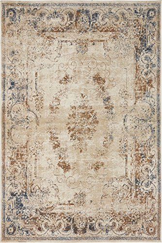 Texture Modern Carved Vintage Traditional Look & Feel Beige 4' x 6' Ephesus Collection Area Rug