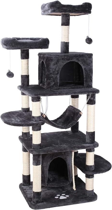 pedy Árbol para Gatos, Rascador con Nidos, Torre de Escalada 170cm ...