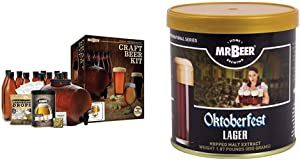 Mr. Beer Complete Beer Making 2 Gallon Starter Kit, Premium Gold Edition, Brown & Beer Lager 2 Gallon Homebrewing Refill, Brown