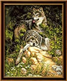 Diy oil painting, paint by number kit- Wolf Love 1620 inch.