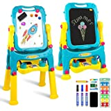 Tomons Art Easel for Kids, Double-Sided Magnetic Dry Erase Board and Chalk Board Adjustable Standing Kids Easel for…