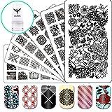 Ejiubas Nail Stamping Kits 3Pcs Nail Plates Stamping Set + 1 Nail Stamper Scraper For Image Nail Art Kit