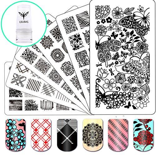 Ejiubas Nail Stamping Kits 3Pcs Nail Plates Stamping Set + 1 Nail Stamper Scraper For Image Nail Art (Nail Artist Design Kit)