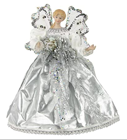 christmas tree angel topper silver dress with sequins 10 - Angel Topper For Christmas Tree
