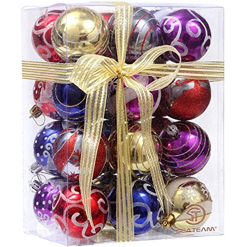 Sea Team 60mm/2.36 Delicate Painting & Glittering Shatterproof Christmas Ball Ornaments Decorative Hanging Christmas Ornaments Baubles Set for Xmas Tree - 24 Counts (Multicolored)