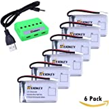HEIOKEY Upgrade 6Pcs 3.7V 720mAh 20C Rechargeable Lipo Battery with 6 in 1 Battery Charger for Syma X5 X5C X5SC X5SC-1 X5SW X5C-1 UDI U45 U45W RC Quadcopters Drone