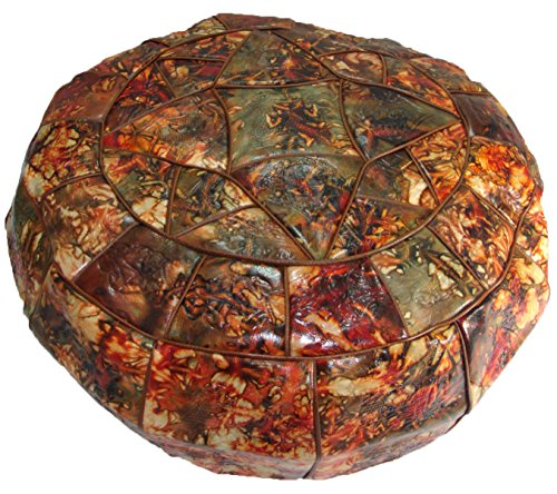 Authentic Egyptian Morocan Handmade Genuine Leather Ottoman Pouf Footstool Unstuffed (Large : Diameter :19