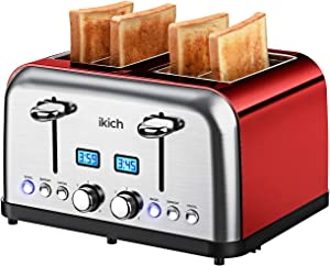 4 Slice Toaster IKICH Toaster Stainless Steel Digital Countdown Toasters(6 Bread Settings Bagel/Defrost/Reheat/Cancel 4 Slots Crumb Tray 1500W) Rose Red