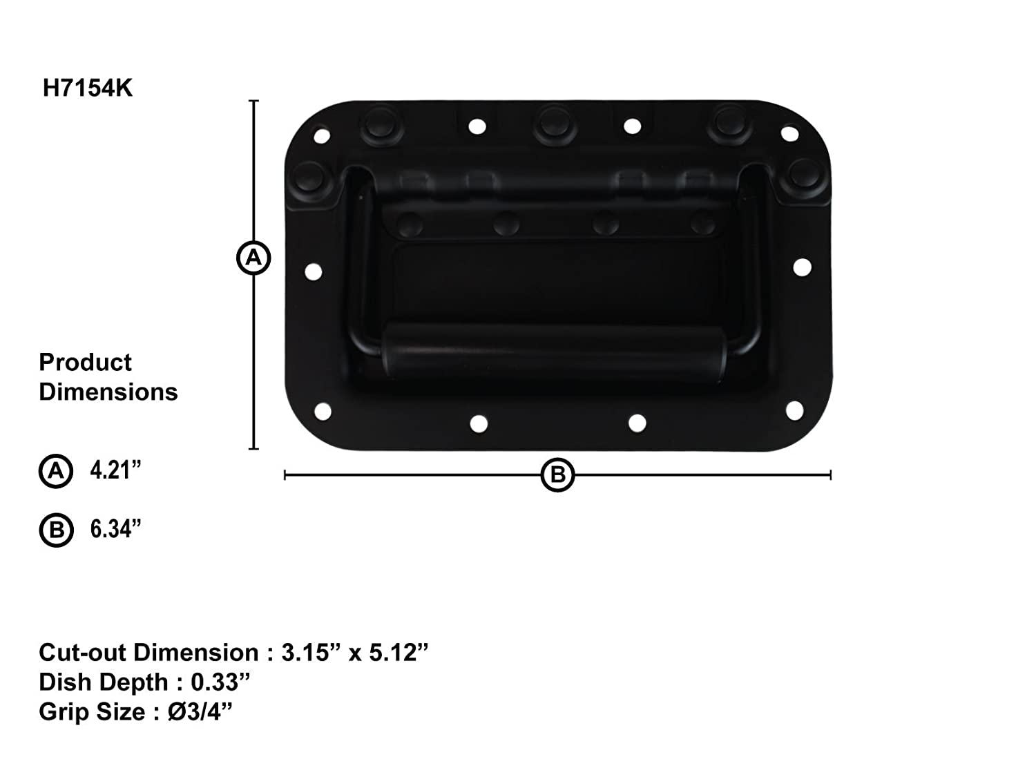 Penn Elcom H7154K Spring Loaded Rivet Protected Recessed Handle for Rolling and Flight Cases Black