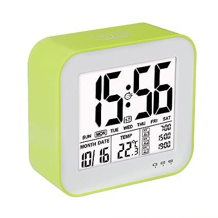 Reloj despertador digital de gran pantalla LCD, 3 alarmas, Retro-iluminación inteligente, con fecha, indicador de temperatura, calendario y luz de ...