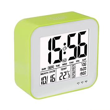VADIV Reloj Despertador Digital Gran Pantalla LCD 3 Alarmas Retro-Iluminación Inteligente con Fecha Indicador de Temperatura Calendario y Luz de Noche USB ...
