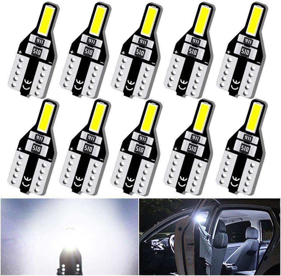 FUBANGBM 10x Led T10 W5W Led Bulbs 168 194 6000K White Car Interior Lights Signal Lamp Dome Reading Light For Volkswagn VW Passat B6 B5 Emitting Color : White, Ships From : China