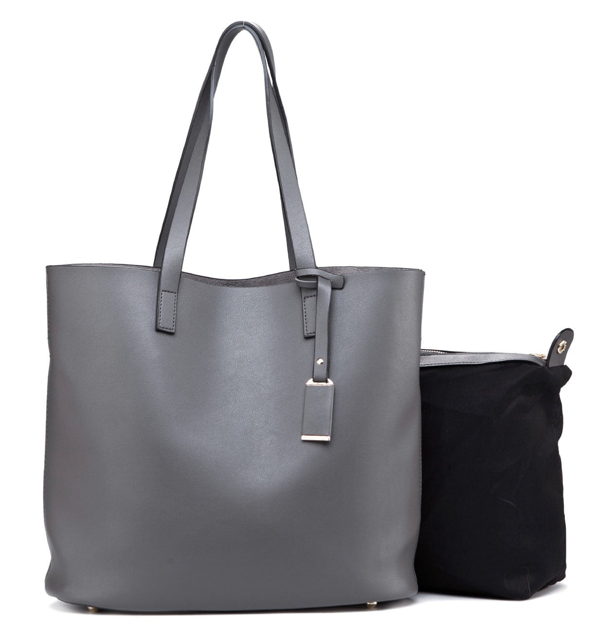 4e1c81c92c142 Buy Ilishop Pu Leather Handbag Designer Pure Color Pures Large Capacity  Shoulder Bag Classical Tote Bags (Grey) Online at Low Prices in India -  Amazon.in