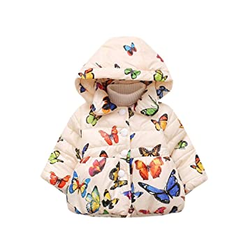 647e214c Vovotrade® Toddler Girls Winter Hooded Butterfly Print Coat Infant Baby  Cotton Long Sleeve Thick Cloak