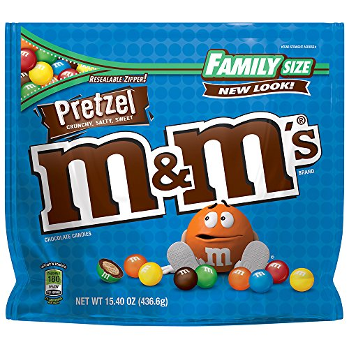 M&M'S Pretzel Chocolate Candy Family Size 15.4-Ounce Bag (Pack of 8) ()