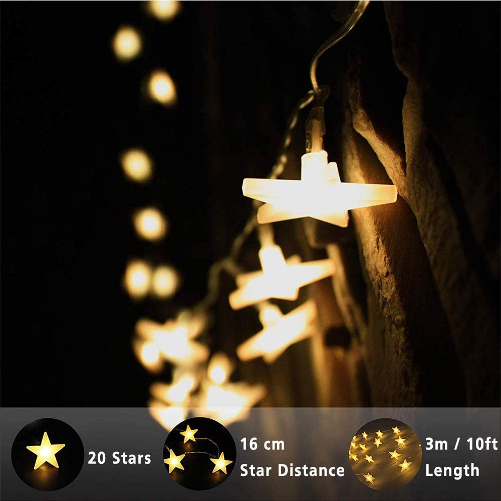 Party Home Warm White Wedding EFFE 3m//10ft LED Fairy Moon Lantern Lights with 20 Moon 2 Flashing Modes Christmas Moon String Lights Battery Powered Indoor /& Outdoor Decoration for New Year Patio Lawn