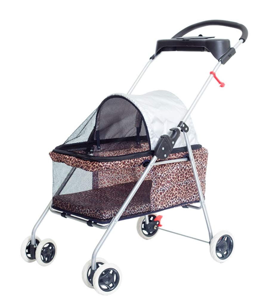 Pet Stroller Four Rounds Breathable Cat Dog Carrier Encrypted Fine Cloth Trolley Trailer Foldable Built-in Soft mat Suitable for Small Pets