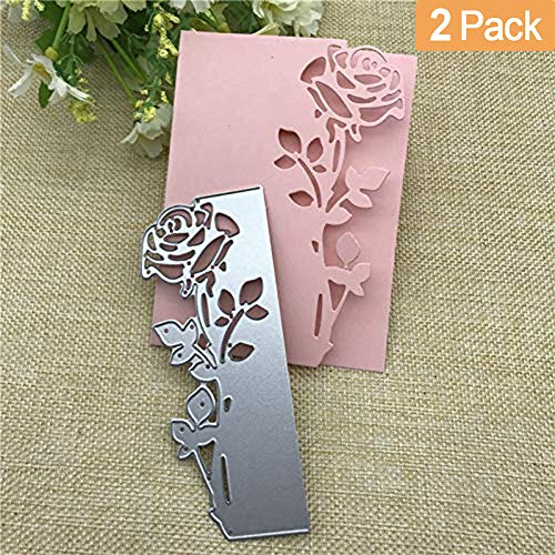 Cutting Dies, Rose Flower Cutting Dies Stencil for DIY Embosing Scrapbooking Album Paper Card Craft, Metal Stencil Template For Card Making, Sliver (2PC) ()