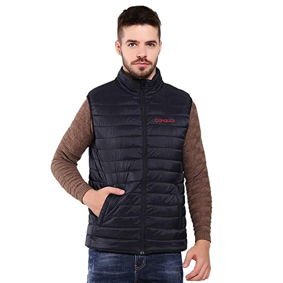 CONQUECO Men's Heated Vest Lightweight Warn Gilet Coat with Battery Pack for Outdoors (M) Black best heated vests for men