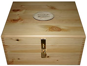 Natural Wood Large Personalised Storage Boxes With Brass Hasp Staple Lock