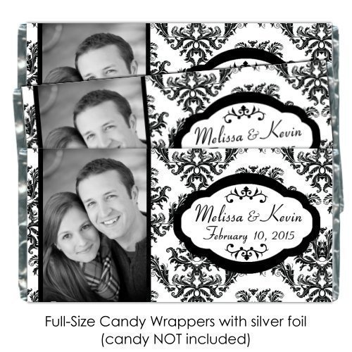 25 Custom Candy Wrappers - Black and White Damask Photo Candy Wrappers, Bridal Shower Favors
