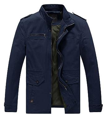 Lega Mens Slim Cotton Coat Stand Collar Military Windbreaker Jacket(Navy e990f86980a