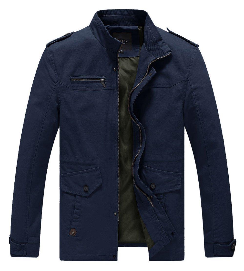 Lega Mens Casual Stand Collar Military Jacket Windproof Windbreaker Jacket(Navy,US L)