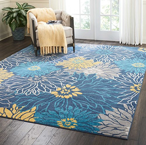 Nourison Passion Area Rug, 8'x10', Blue (Rug Grey 8x10 Area And Yellow)