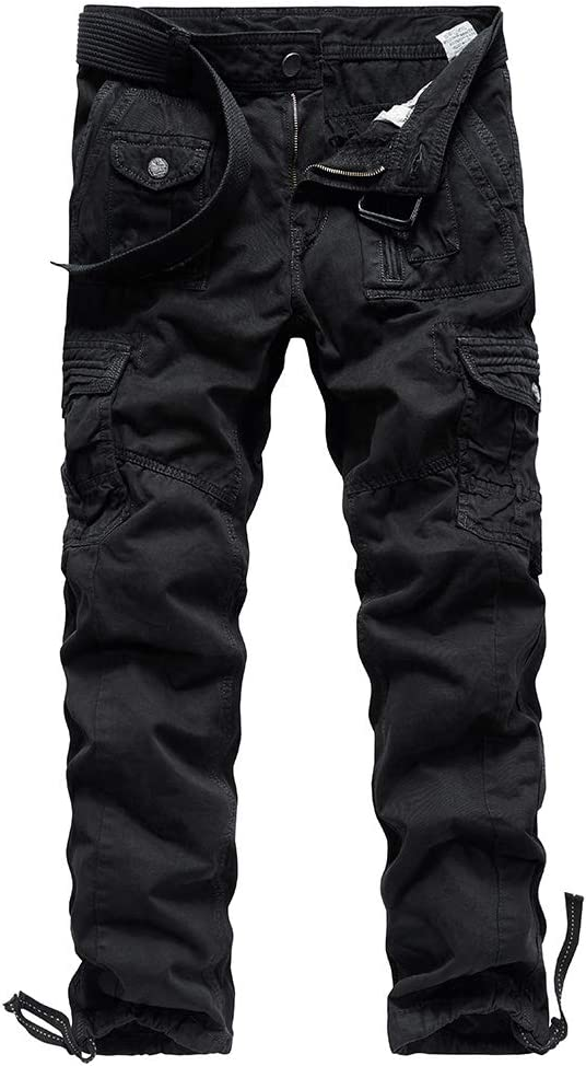 Montbreaker Mens Outdoor Hiking Pants Regular Fit Cargo Pants Large Pockets Cotton Twill