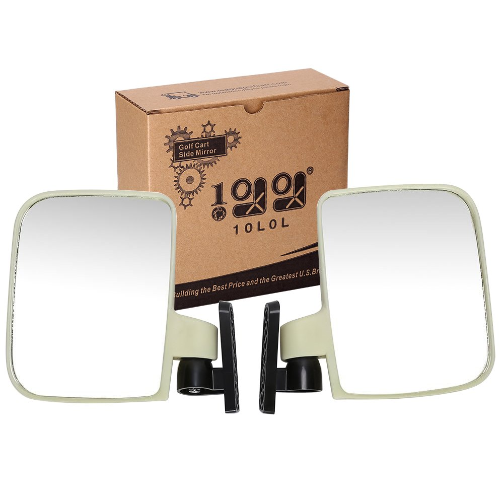 10L0L Golf cart Generic Side Mirrors for EZGO Club Car Yamaha and Others (One Pair for Sale) by 10L0L