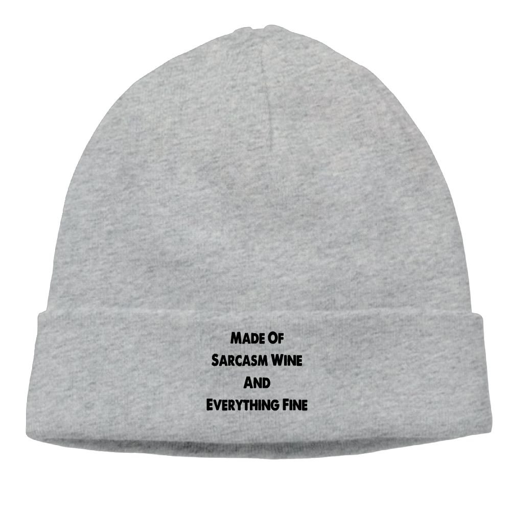 YanHIng Made Of Sarcasm Wine and Everything Fine Hot New Winter Hats Knitted Twist Cap Thick Beanie Hat Ash