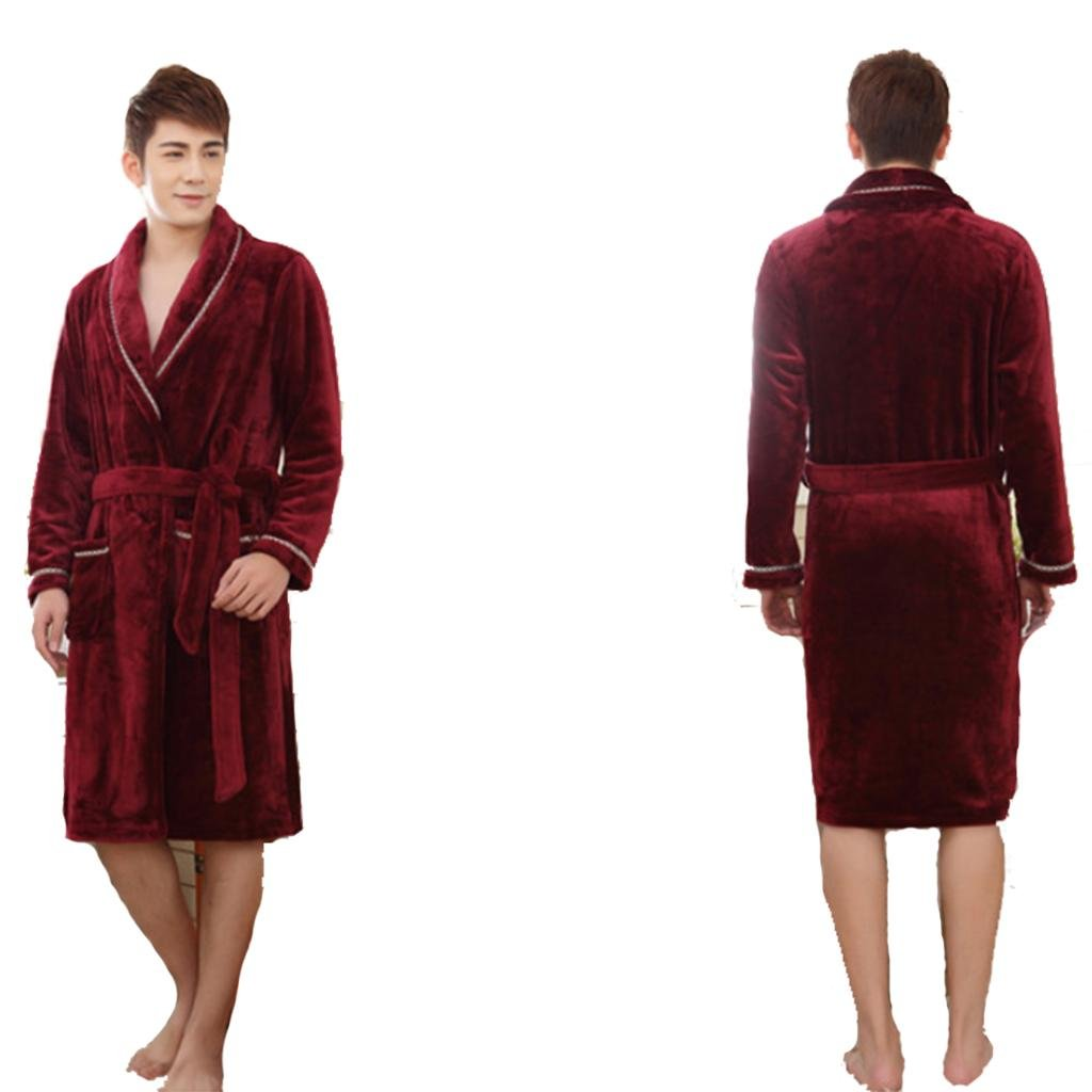 Winter bathrobes Sleeve short plush spring and autumn men and women thick robe home pajamas bathrobe , male wine red robe , xxl