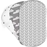 3-Pack of Bassinet Sheets | 100% Hypoallergenic Jersey Cotton | Gender Neutral Grey and White for Baby boy or Girl | Fitted C