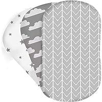 Bear's Little Fish 3-Pack van Moses Basket Sheets   100% Hypoallergeen Jersey Katoen  Gender Neutraal Grijs en Wit voor…