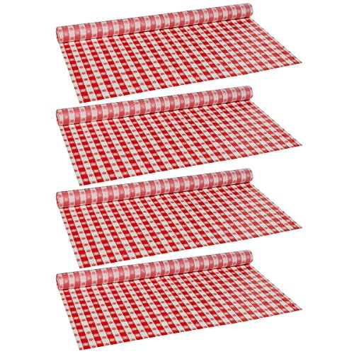 Hoffmaster 114001 Plastic Tablecover Roll, 300' Length x 40'' Width, Red Gingham, 4 Rolls by Hoffmaster