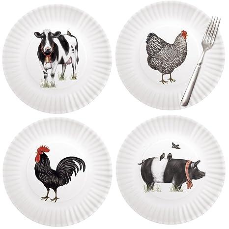 Mary Lake-Thompson Farmhouse Animals 9-inch Melamine Plates Set of 4  sc 1 st  Amazon.com & Amazon.com: Mary Lake-Thompson Farmhouse Animals 9-inch Melamine ...