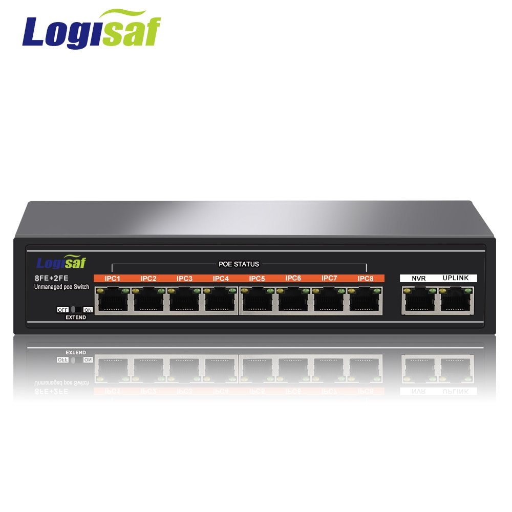 Logisaf 10-Port PoE Switch Unmanaged 10/100Mbps Fast Ethernet Switch with 8 Port PoE by Logisaf